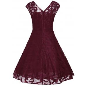Vintage Sweetheart Neck Fit et Flare Dress - Rouge vineux  XL