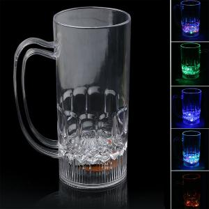 LED Colour Change Liquid Activated Light Medium Beer Mug - Transparent