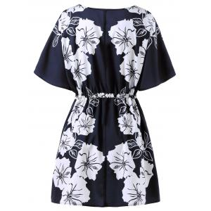 Floral Drawstring Plus Size Dress -