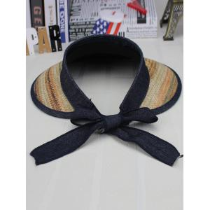 Wide Brim Bowknot Band Open Top Straw Hat - KHAKI DOUBLE