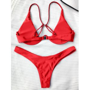 Underwired Plunge Bathing Suit - RED S
