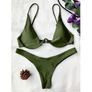 Underwired Plunge Bathing Suit - Green - S