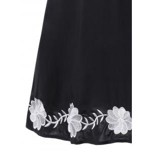 Flower Embroidery Tie Front Plus Size Dress -