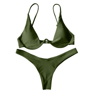 Underwired Plunge Bathing Suit - GREEN M