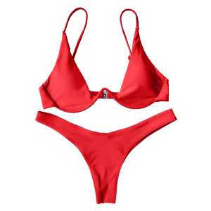Underwired Plunge Bathing Suit - RED M