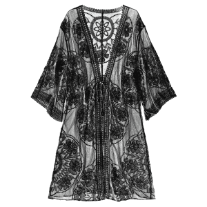 Embroidered Sheer Kimono Cover Up -