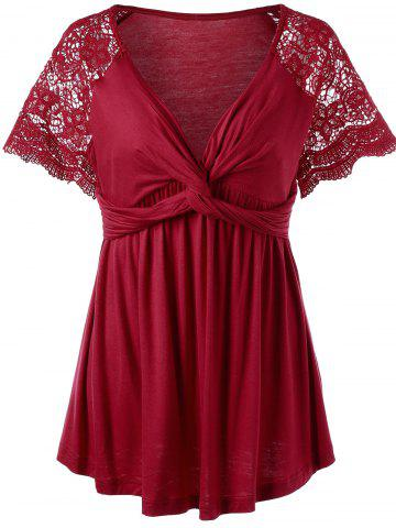 Lace Panel Twist Knot Plus Size Top - Red - Xl