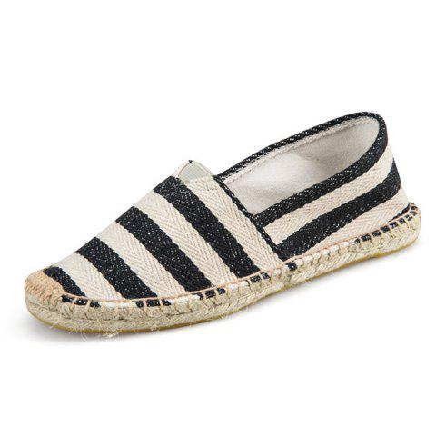 Online Striped Two Tone Casual Shoes - 37 BLACK Mobile