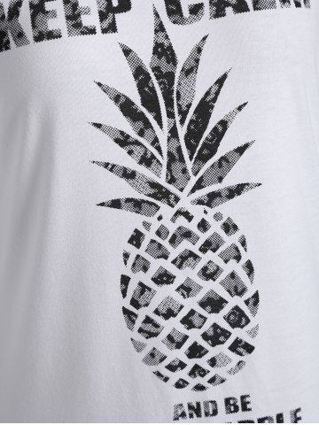 New Lace Insert Keep Calm Pineapple Batwing T-Shirt - M WHITE Mobile