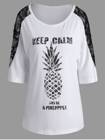 Fashion Lace Insert Keep Calm Pineapple Batwing T-Shirt - M WHITE Mobile