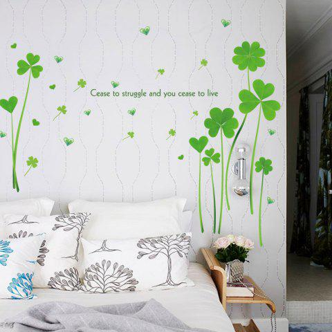 Online Heart Clover Inspirational Quotes Vinyl Wall Sticker GREEN 60*90CM