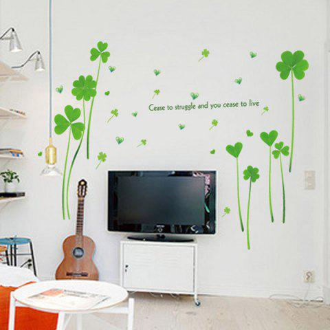 Outfits Heart Clover Inspirational Quotes Vinyl Wall Sticker - 60*90CM GREEN Mobile