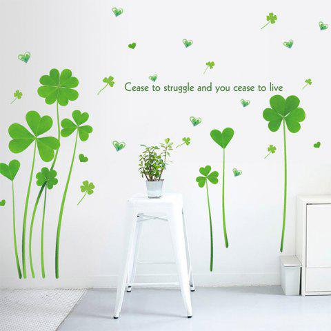 New Heart Clover Inspirational Quotes Vinyl Wall Sticker - 60*90CM GREEN Mobile