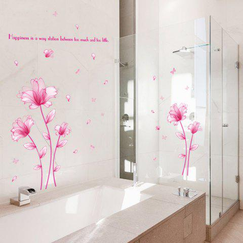 Trendy Floral Inspiration Quote Removable Vinyl Wall Sticker - 60*90CM PINK Mobile