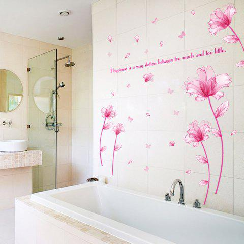 Outfits Floral Inspiration Quote Removable Vinyl Wall Sticker - 60*90CM PINK Mobile