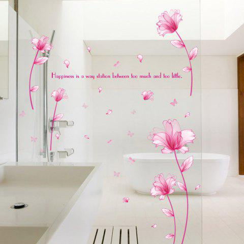 New Floral Inspiration Quote Removable Vinyl Wall Sticker - 60*90CM PINK Mobile