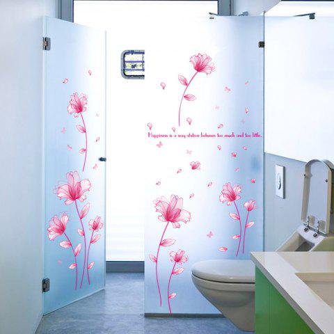 Discount Floral Inspiration Quote Removable Vinyl Wall Sticker PINK 60*90CM
