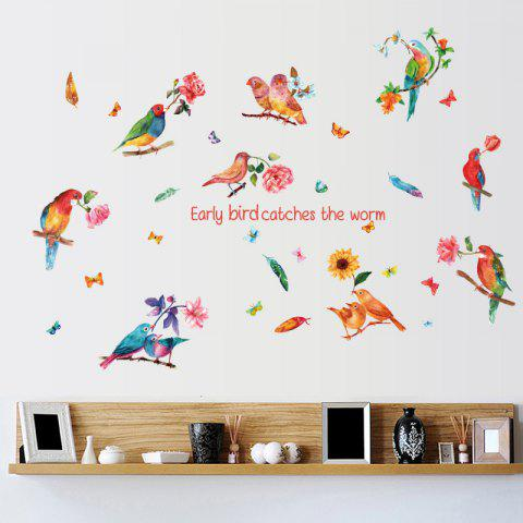 Flower Bird Inspiration Quotes Wall Sticker - Colorful - 60*90cm