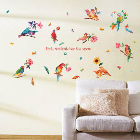 Trendy Flower Bird Inspiration Quotes Wall Sticker - 60*90CM COLORFUL Mobile