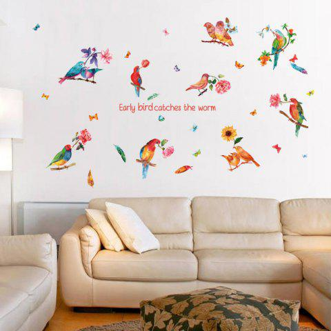Shop Flower Bird Inspiration Quotes Wall Sticker - 60*90CM COLORFUL Mobile