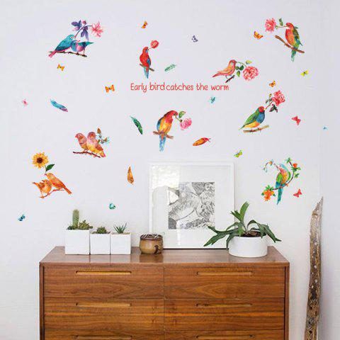 New Flower Bird Inspiration Quotes Wall Sticker - 60*90CM COLORFUL Mobile
