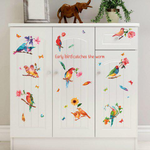 Outfit Flower Bird Inspiration Quotes Wall Sticker - 60*90CM COLORFUL Mobile
