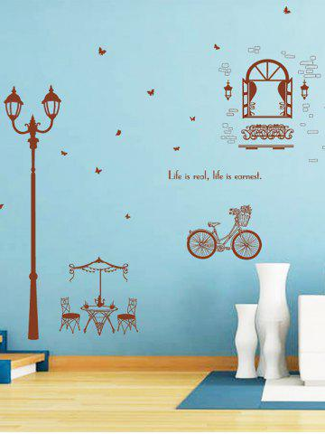New Bicycle Lamppost Removable Vinyl Wall Sticker DEEP BROWN 60*90CM