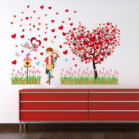 Discount Tree Heart Lovers Removable Vinyl Wall Sticker - 60*90CM RED Mobile
