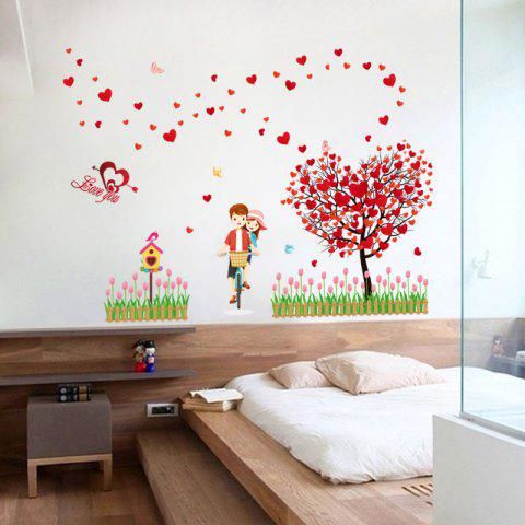 New Tree Heart Lovers Removable Vinyl Wall Sticker - 60*90CM RED Mobile