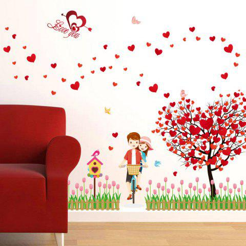 Chic Tree Heart Lovers Removable Vinyl Wall Sticker - 60*90CM RED Mobile