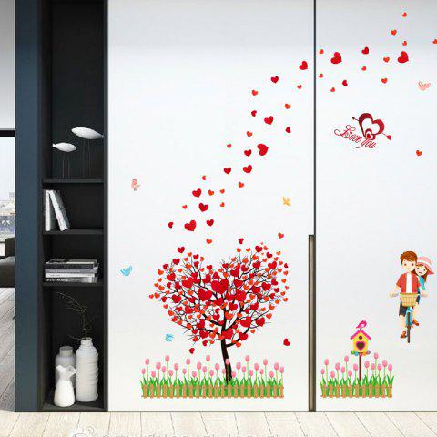 Affordable Tree Heart Lovers Removable Vinyl Wall Sticker - 60*90CM RED Mobile