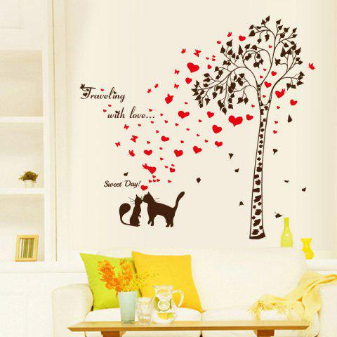 Chic Tree Heart Butterfly Lover Cat Vinyl Wall Sticker - 60*90CM BLACK RED Mobile
