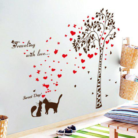 Discount Tree Heart Butterfly Lover Cat Vinyl Wall Sticker - 60*90CM BLACK RED Mobile