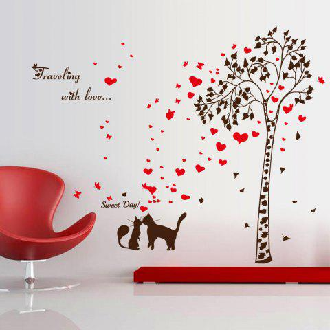 Outfit Tree Heart Butterfly Lover Cat Vinyl Wall Sticker - 60*90CM BLACK RED Mobile