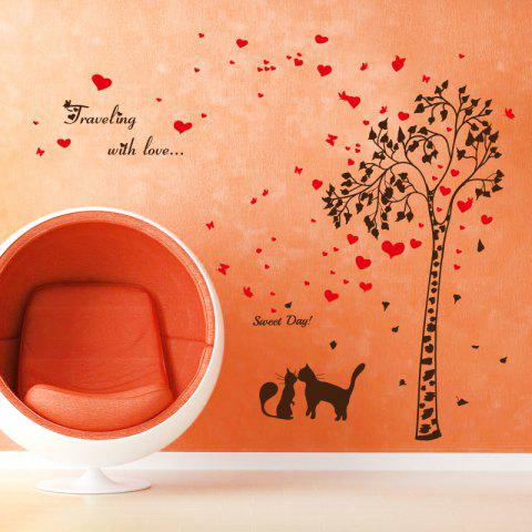 New Tree Heart Butterfly Lover Cat Vinyl Wall Sticker - 60*90CM BLACK RED Mobile