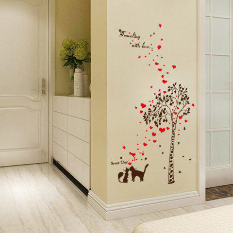 Affordable Tree Heart Butterfly Lover Cat Vinyl Wall Sticker - 60*90CM BLACK RED Mobile