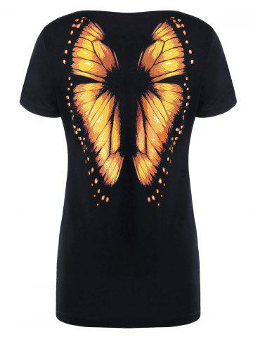 Fancy Butterfly Printed Short Sleeve Tee - M ORANGE Mobile