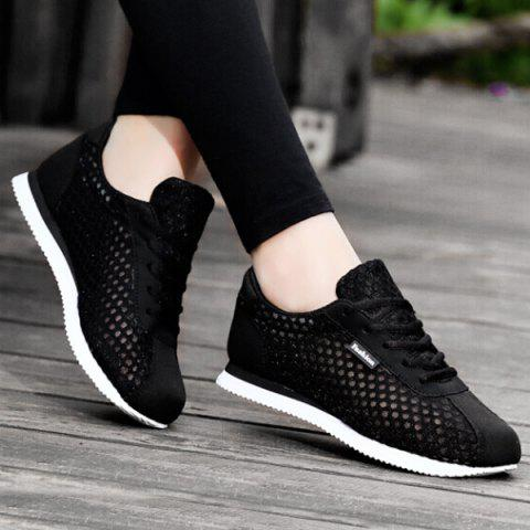 Breathable Mesh Suede Insert Athletic Shoes - Black - 39