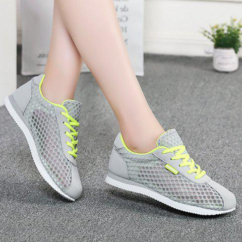 Sale Breathable Mesh Suede Insert Athletic Shoes GRAY 37