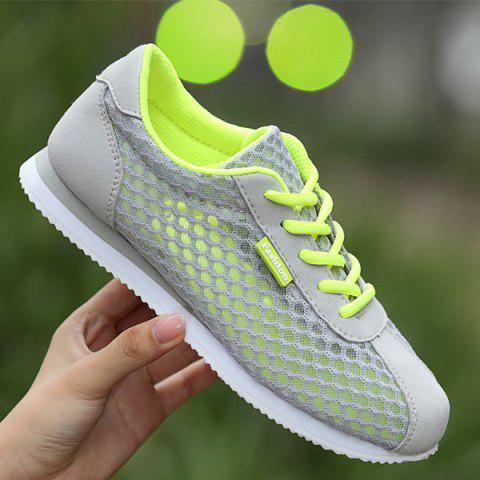 Shop Breathable Mesh Suede Insert Athletic Shoes - 37 GRAY Mobile