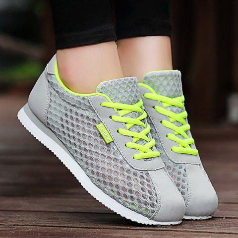 Trendy Breathable Mesh Suede Insert Athletic Shoes - 37 GRAY Mobile