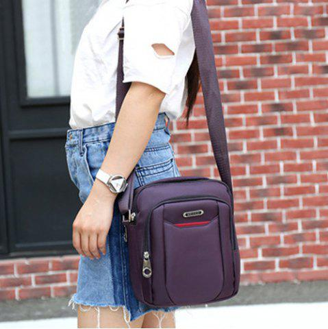 Fancy Casual Nylon Zips Crossbody Bag - PURPLE  Mobile