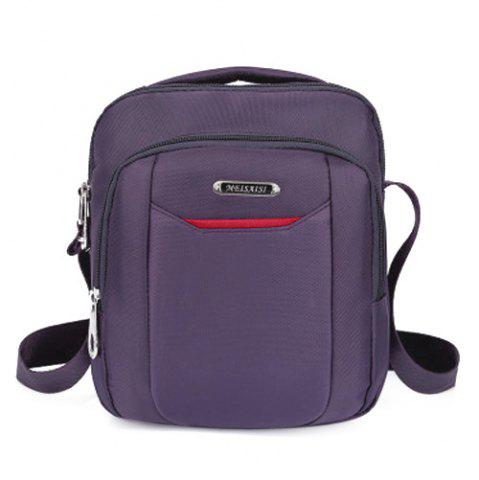 Fashion Casual Nylon Zips Crossbody Bag - PURPLE  Mobile