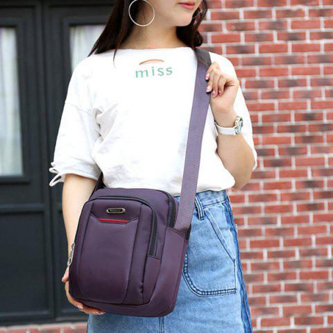Discount Casual Nylon Zips Crossbody Bag - PURPLE  Mobile