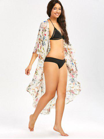 Online Floral Print Longline Chiffon Beach Cover Up - 2XL OFF-WHITE Mobile