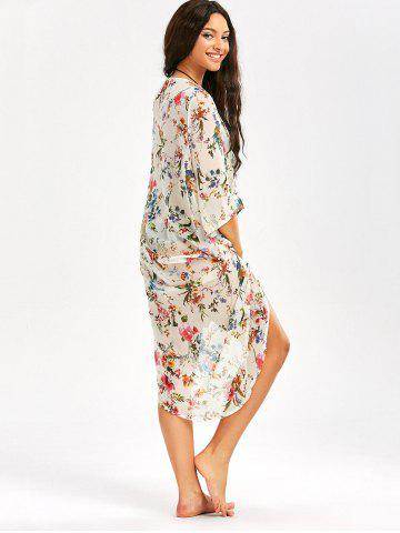 Outfits Floral Print Longline Chiffon Beach Cover Up - 2XL OFF-WHITE Mobile