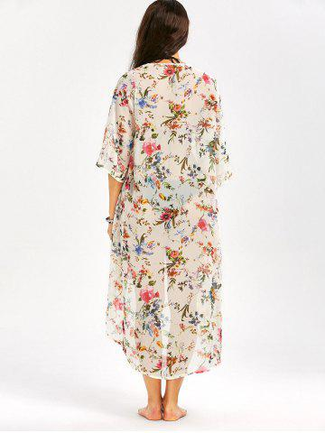 Hot Floral Print Longline Chiffon Beach Cover Up - 2XL OFF-WHITE Mobile