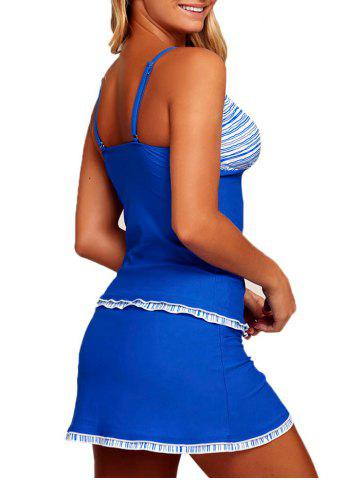 Affordable Striped Ruched Tankini Set - S BLUE Mobile