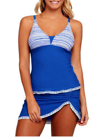 Chic Striped Ruched Tankini Set - S BLUE Mobile