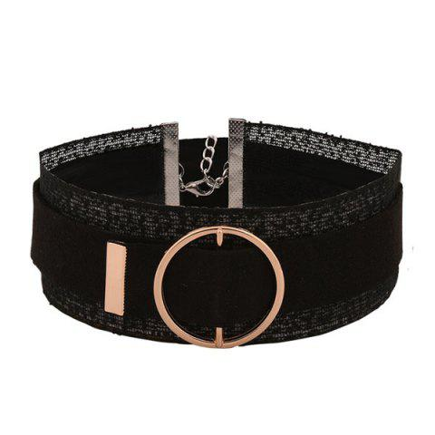 Circle Buckle Layered Wide Choker Necklace - Black